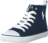 Ralph Lauren Junior - Harbour Hi Kids Navy Canvas -White